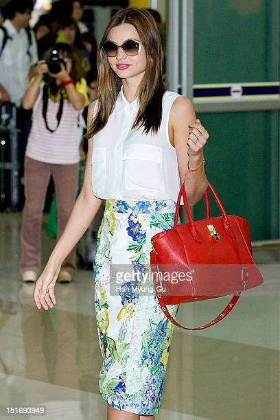 Model Miranda Kerr is seen upon arrival at Gimpo International Airport on September 10 2012 in Seoul South Korea