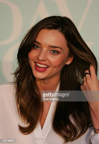Model Miranda Kerr poses at the relaunch of her KORA Organics range at David Jones on August 27 2011 in Melbourne Australia