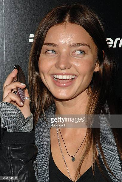 Model Miranda Kerr poses at Verizon's launch of the new Blackberry Pearl 8130 Smartphone at The IAC Building on January 29 2008 in New York City
