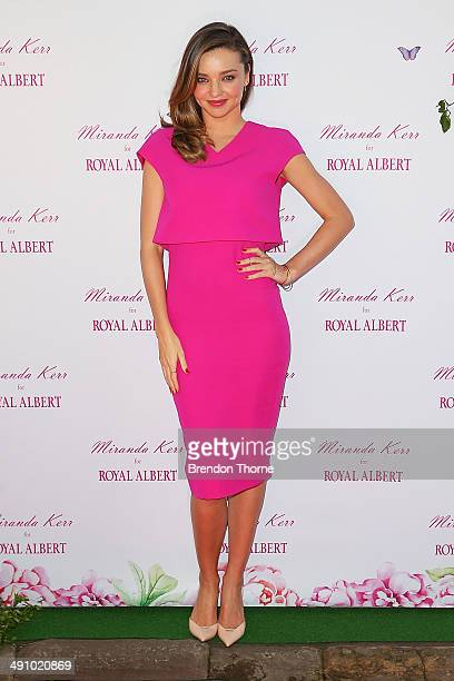 Model Miranda Kerr poses during a public appearance to discuss her Royal Albert teaware range on May 16 2014 in Sydney Australia