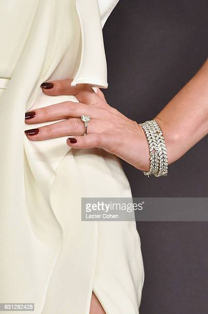 Model Miranda Kerr ring bracelet manicure and fashion details attends the 18th Annual PostGolden Globes Party hosted by Warner Bros Pictures and...