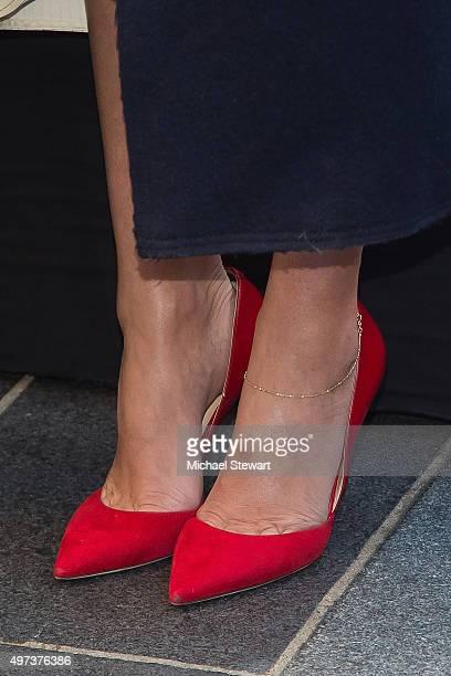 Model Miranda Kerr shoe detail attends Swarovski Star raising for 2015 Rockefeller Center Christmas Tree at Rockefeller Plaza on November 16 2015 in...