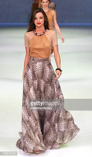 Model Miranda Kerr showcases designs by Kirrily Johnston on the catwalk at the David Jones Spring/Summer 2011 season launch at the Royal Hall of...