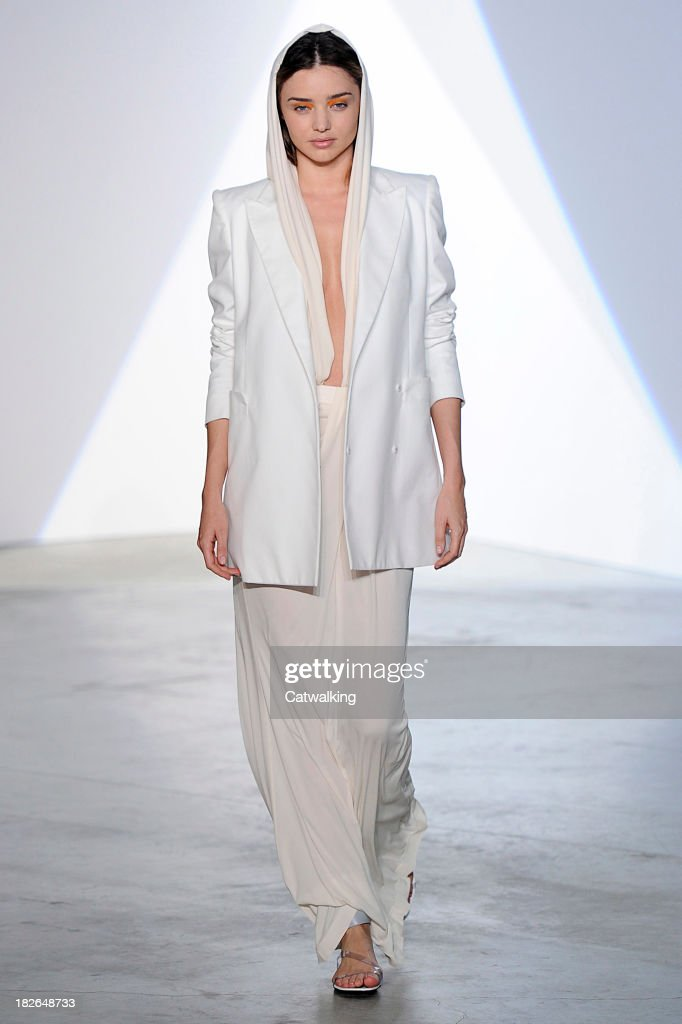 Model Miranda Kerr walks the runway at the Vionnet Spring Summer 2014 fashion show during Paris Fashion Week on October 2, 2013 in Paris, France.
