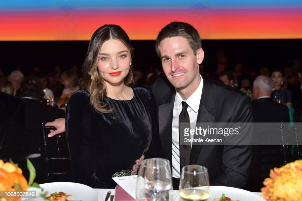 Model Miranda Kerr wearing Gucci and Snap Inc CEO and cofounder Evan Spiegel attend 2018 LACMA Art Film Gala honoring Catherine Opie and Guillermo...
