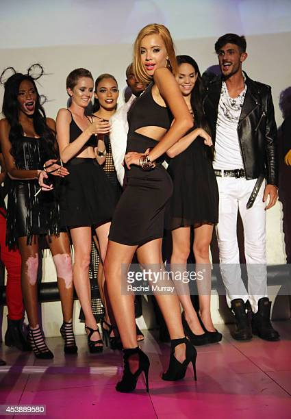 Model Mirjana Puhar and Cycle 21 models onstage during America's Next Top Model Cycle 21 premiere party presented by NYLON and LINE at SupperClub Los...