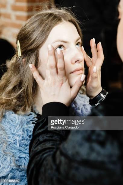 Model Model Felice Nova Noordhoff is seen backstage ahead of the Alberta Ferretti show during Milan Fashion Week Fall/Winter 2018/19 on February 21...
