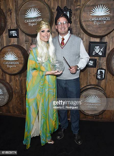Model Molly Sims and producer Scott Stuber arrive to the Casamigos Halloween Party at a private residence on October 28 2016 in Beverly Hills...