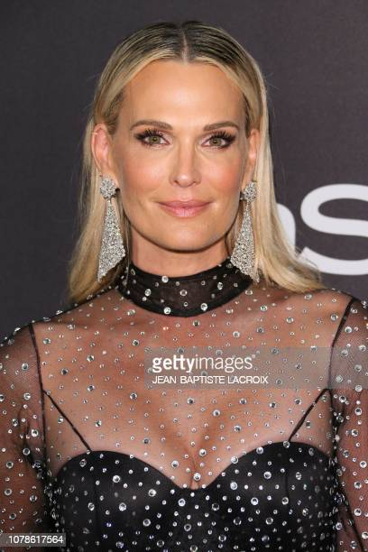 US model Molly Sims arrives for the Warner Bros and In Style 20th annual post Golden Globes party at the Oasis Courtyard of the Beverly Hilton hotel...