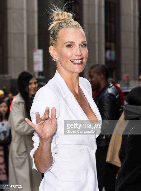 Model Molly Sims is seen leaving the Michael Kors Fashion Show during New York Fashion Week at Cipriani Wall Street on February 13 2019 in New York...