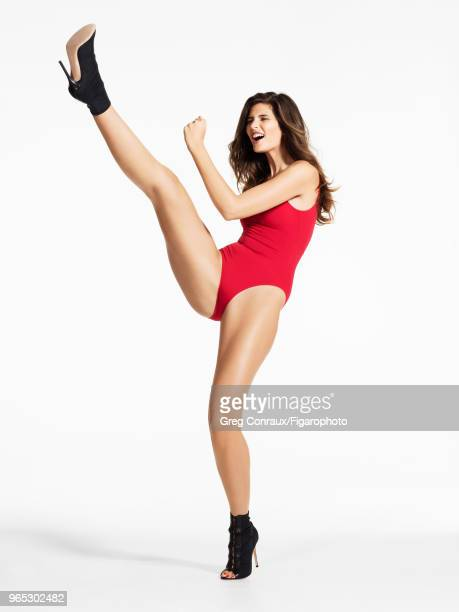 Model Monica Cima poses at a beauty shoot for Madame Figaro on October 11 2017 in Paris France Bodysuit by Repetto boots by Gianvito Rossi PUBLISHED...