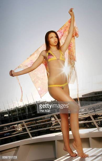 Model Monica, in Nicky Rowsell's design on 2nd September, 2005. THE AGE NEWS Picture by EDDIE JIM.