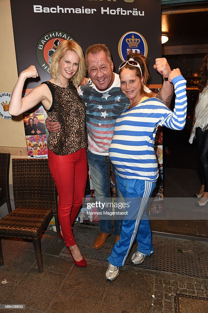 Model Monika Ivancan, Hugo Bachmaier and actress Doreen Dietel attend 9 Years Anniversary Bachmaier Hofbraeu at Bachmaier Hofbraeu on May 10, 2014 in Munich, Germany.