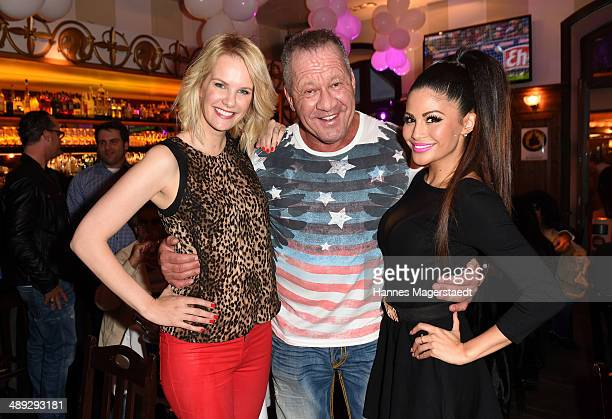 Model Monika Ivancan Hugo Bachmaier and Playmate Mia Gray attend 9 Years Anniversary Bachmaier Hofbraeu at Bachmaier Hofbraeu on May 10 2014 in...
