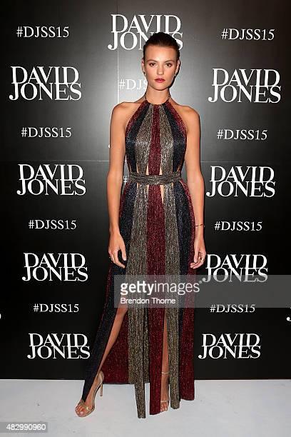 Model Montana Cox arrives ahead of the David Jones Spring/Summer 2015 Fashion Launch at David Jones Elizabeth Street Store on August 5 2015 in Sydney...