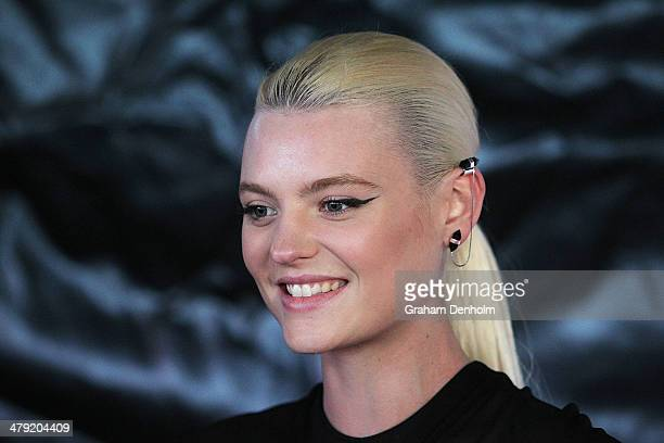 Model Montana Cox poses as she arrives for the 2014 Virgin Australia Melbourne Fashion Festival Opening Event presented by David Jones at Docklands...