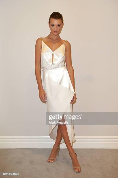 Model Montana Cox poses backstage ahead of the David Jones Spring/Summer 2015 Fashion Launch at David Jones Elizabeth Street Store on August 5 2015...