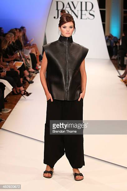Model Montana Cox showcases designs by Bassike at the David Jones Spring/Summer 2014 Collection Launch at David Jones Elizabeth Street Store on July...
