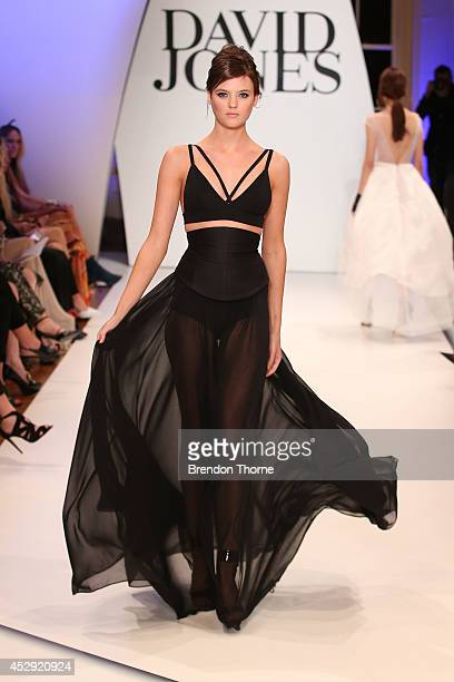 Model Montana Cox showcases designs by Bianca Spender at the David Jones Spring/Summer 2014 Collection Launch at David Jones Elizabeth Street Store...
