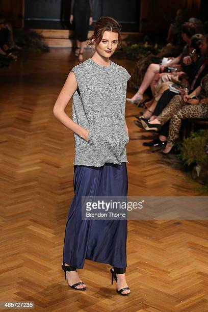Model Montana Cox showcases designs by Christopher Esber at the David Jones A/W 2014 Collection Launch at the David Jones Elizabeth Street Store on...