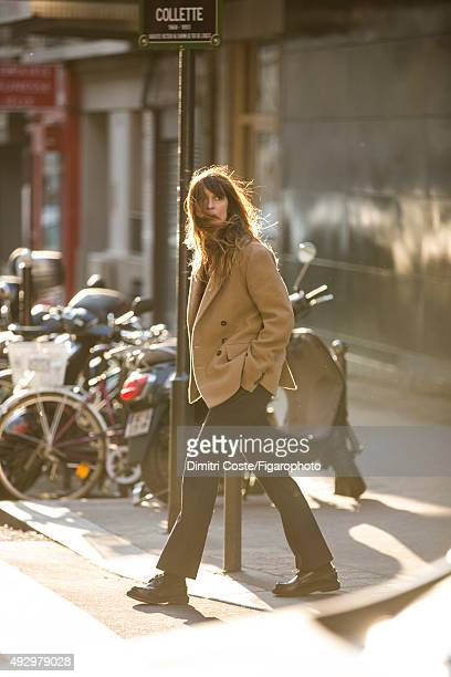 Model music producer and actress Caroline de Maigret is photographed for Madame Figaro on July 9 2015 in Paris France Jacket pants socks shoes...