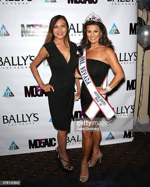Model Myrna Breen and Mrs Nevada United States 2015 Jadee Mangel attend opening night of the a cappella group Mo5aic's residency at Bally's Las Vegas...