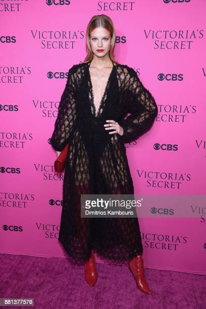 Model Nadine Leopold attends as Victoria's Secret Angels gather for an intimate viewing party of the 2017 Victoria's Secret Fashion Show at Spring...