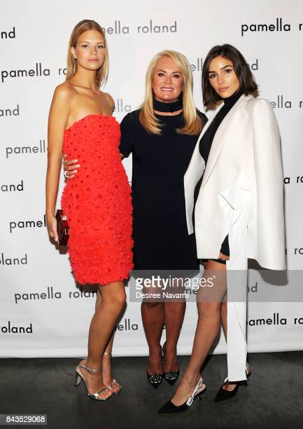 Model Nadine Leopold designer Pamella Roland and actress Olivia Culpo pose backstage for the Pamella Roland Spring 2018 Collection Show during New...