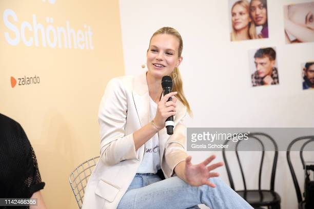 Model Nadine Leopold during the Zalando Beauty Pop-Up Event on May 9, 2019 in Munich, Germany.