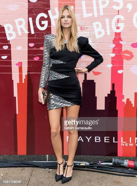 Model Nadine Leopold is seen arriving to The Talks Meet the Model Squad event during New York Fashion Week at Spring Studios on September 10 2018 in...