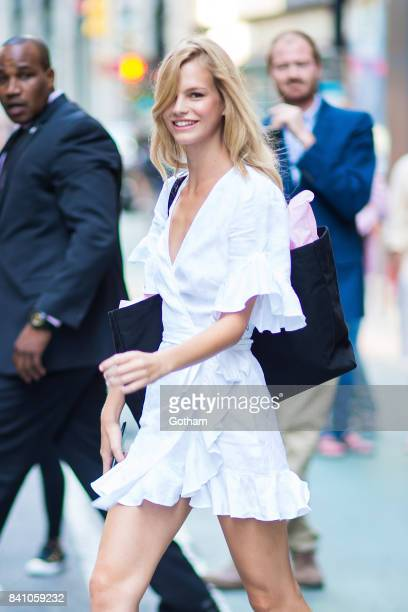 Model Nadine Leopold is seen going to fittings for the 2017 Victoria's Secret Fashion Show in Midtown on August 30 2017 in New York City
