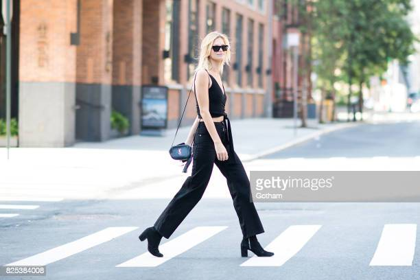 Model Nadine Leopold is seen in Tribeca on August 1 2017 in New York City