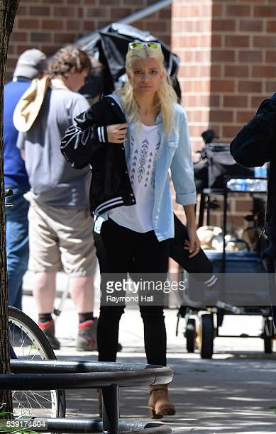 Model Nadine Leopold is seen on the set of Photoshoot on June 9 2016 in New York City