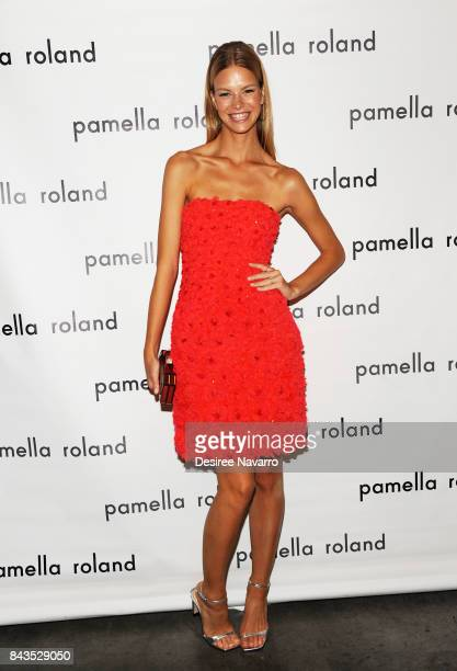 Model Nadine Leopold poses backstage for the Pamella Roland Spring 2018 Collection Show during New York Fashion Week at Pier 59 on September 6 2017...