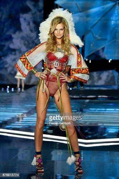 Model Nadine Leopold walks the runway during the 2017 Victoria's Secret Fashion Show In Shanghai at MercedesBenz Arena on November 20 2017 in...