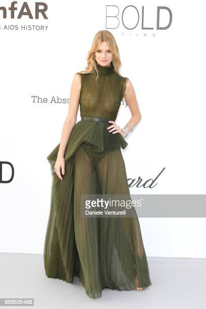 Model Nadine Leopold wearing Elie Saab dress arrives at the amfAR Gala Cannes 2018 at Hotel du CapEdenRoc on May 17 2018 in Cap d'Antibes France