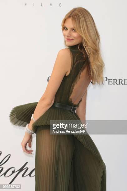 Model Nadine Leopold wearing Elie Saab dress arrives at the amfAR Gala Cannes 2018 at Hotel du CapEdenRoc on May 17 2018 in Cap d'Antibes France