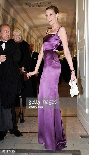 """Model Nadja Auermann arrives at the """"Cinema For Peace"""" Awards on February 14 2005 in Berlin, Germany."""