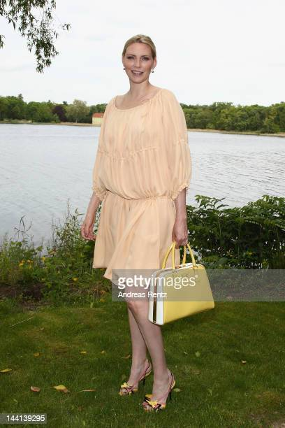 Model Nadja Auermann arrives for the Wunderkind Fall / Winter 2012 fashion show at Villa Wunderkind on May 10 2012 in Potsdam Germany