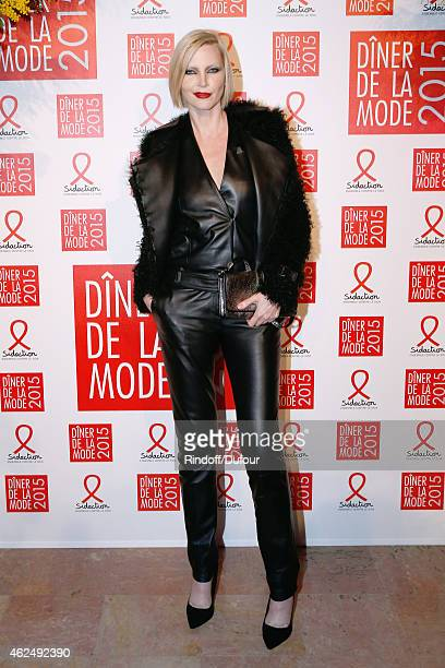 Model Nadja Auermann attends the Sidaction Gala Dinner 2015 at Pavillon d'Armenonville on January 29 2015 in Paris France
