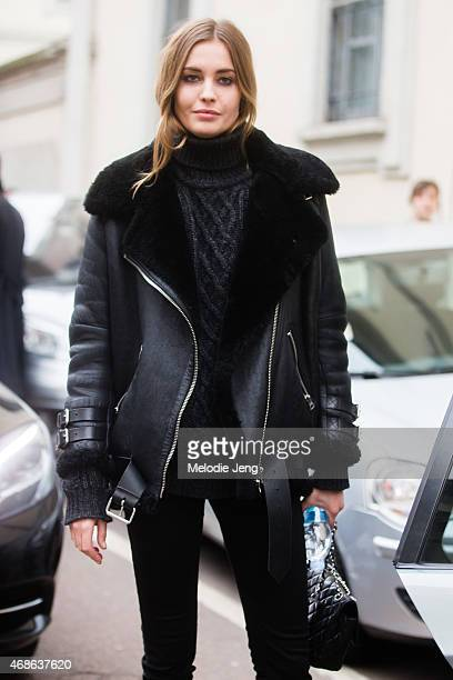 Model Nadja Bender exits the Roberto Cavalli show in an Acne Studios leather shearling jacket on Day 4 of Milan Fashion Week FW15 on February 28 2015...