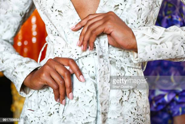 A model nail detail ahead of the Marcel Ostertag show during the Berlin Fashion Week Spring/Summer 2019 at Westin Grand Hotel on July 4 2018 in...