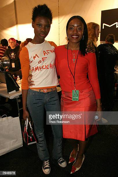 Model Nakquesh Robinson and Tracy Reese pose backstage during Olympus Fashion Week at Bryant Park February 8 2004 in New York City