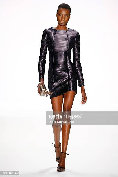 Model Nala D walks the runway at the Dimitri show during the MercedesBenz Fashion Week Berlin Autumn/Winter 2016 at Brandenburg Gate on January 21...