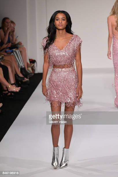 Model Nala Wayans walks the runway at the Sherri Hill NYFW SS18 fashion show at Gotham Hall on September 12 2017 in New York City
