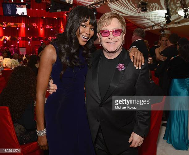 Model Naomi Cambel and Sir Elton John attend the 21st Annual Elton John AIDS Foundation Academy Awards Viewing Party at West Hollywood Park on...