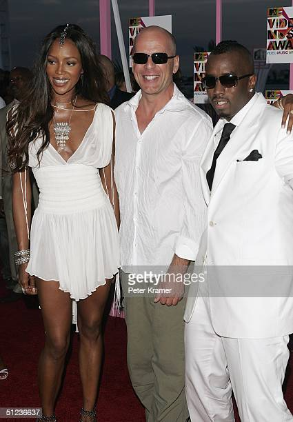 Model Naomi Campbell actor Bruce Willis and rapper Sean 'P Diddy' Combs arrives at the 2004 MTV Video Music Awards at the American Airlines Arena...