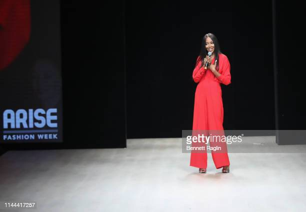 Model Naomi Campbell address the audience during Arise Fashion Week the on April 21, 2019 in Lagos, Nigeria.