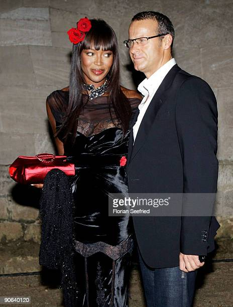 Model Naomi Campbell and boyfriend Vladislav Doronin attend the wedding party of Barbara Becker and Arne Quinze at Belvedere Palac on September 12...