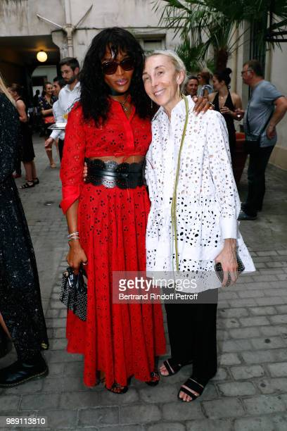 Model Naomi Campbell and Carla Sozzani attend L'Alchimie secrete d'une collection The Secret Alchemy of a Collection Exhibition Preview at Galerie...